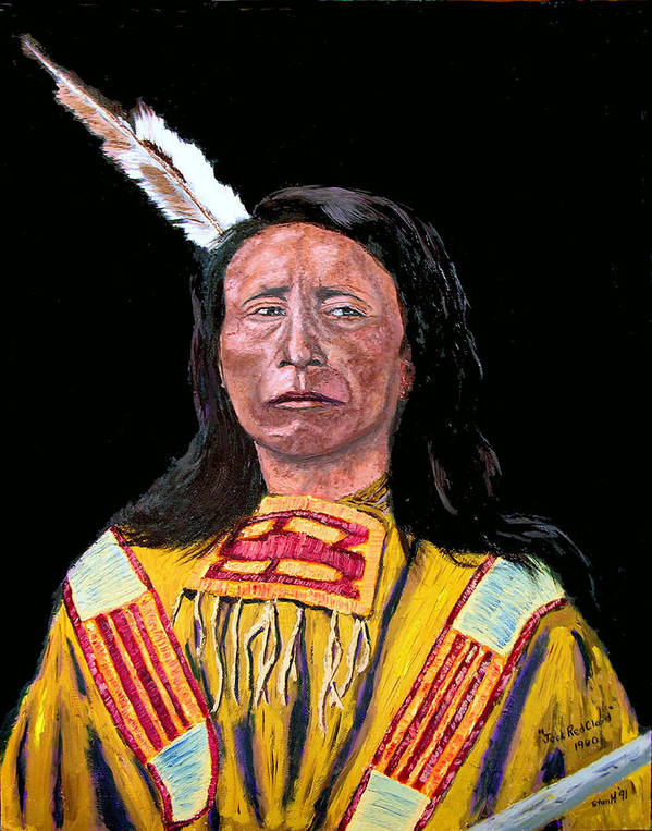 Indian Poster featuring the painting Jack Red Cloud by Stan Hamilton