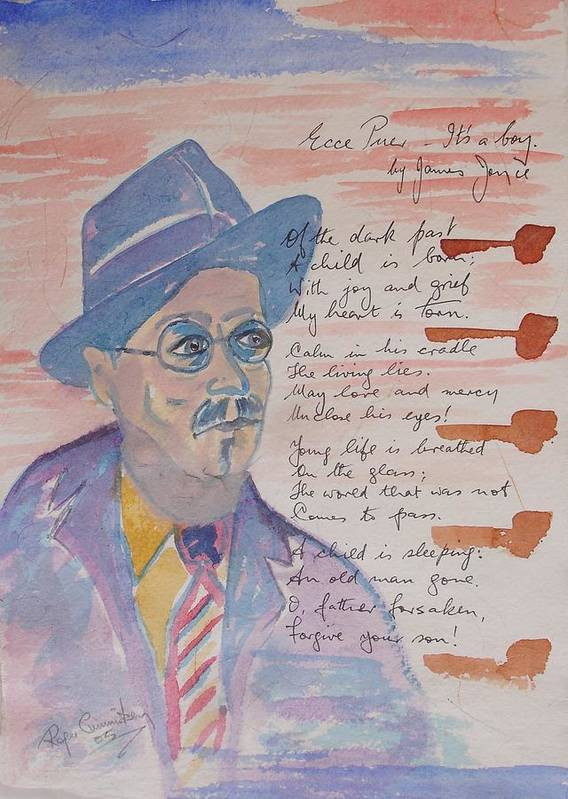 Limited Edition Print Poster featuring the painting James Joyce by Roger Cummiskey