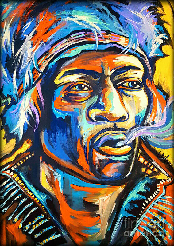 Jimi Poster featuring the painting Jimi Hendrix by Amy Belonio