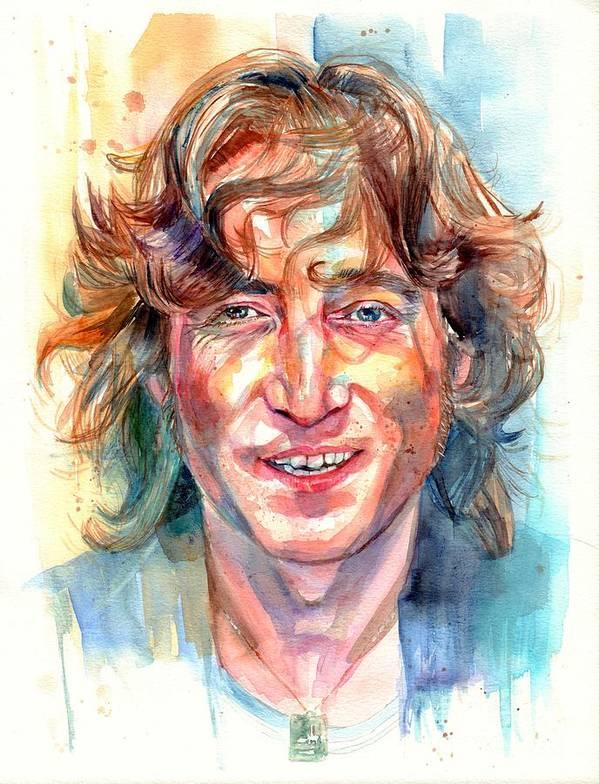 John Lennon Poster featuring the painting John Lennon portrait by Suzann Sines
