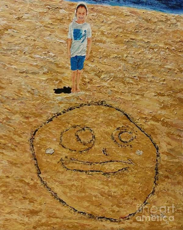 Child Poster featuring the painting Jorden Draw Self Portrait In The Sand  by Eli Gross