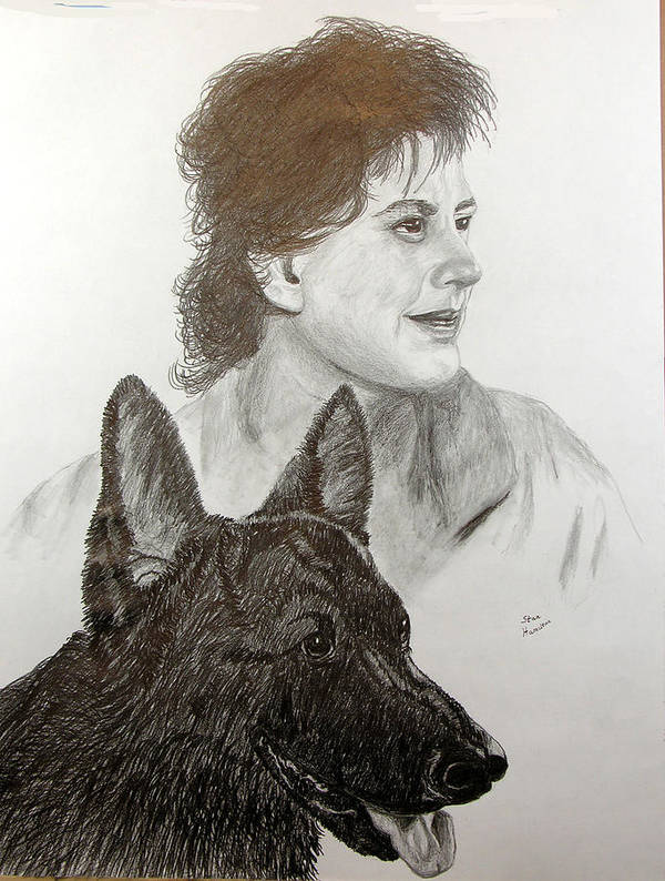 Pencil Poster featuring the drawing Kim and Saver by Stan Hamilton