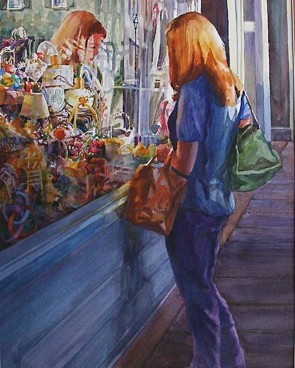 Poster featuring the painting King Street Reflections by Carolyn Epperly