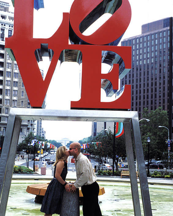 Woman Poster featuring the photograph Kiss Under Love Sculpture by Carl Purcell