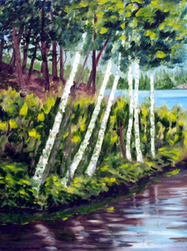 Landscape Poster featuring the print Lakeside Birches by Anne Trotter Hodge