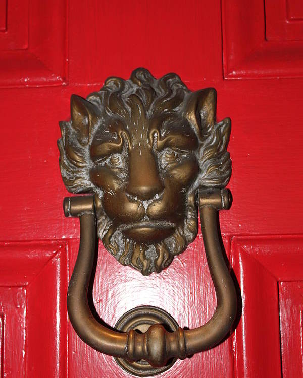 New Orleans Poster featuring the photograph Lion Head Door Knocker by Lauri Novak