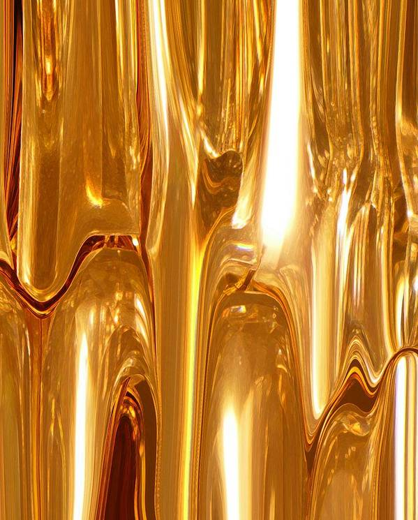 Abstract Poster featuring the digital art Liquid Gold by Florene Welebny
