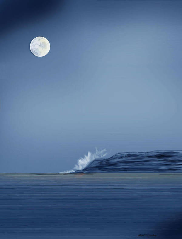 Seascape Poster featuring the painting Looking At The Moon by Anne Norskog