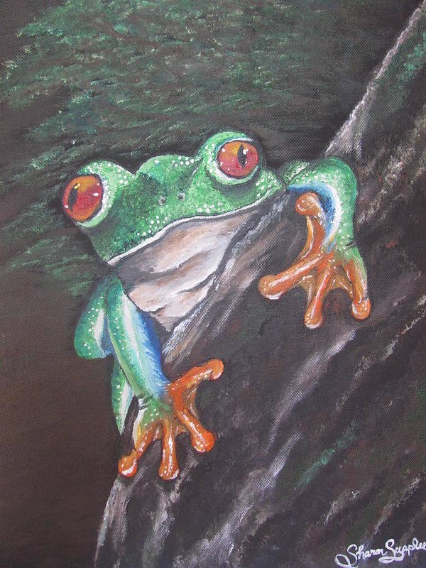 Frog Poster featuring the painting Lucky by Sharon Supplee