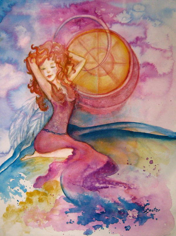 Watercolor Painting Poster featuring the painting Luna by L Lauter