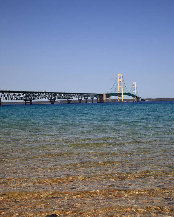 America Poster featuring the photograph Mackinac Bridge by Frank Romeo