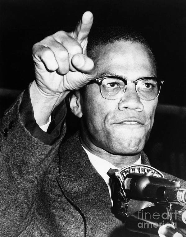 1963 Poster featuring the photograph Malcolm X (1925-1965) by Granger