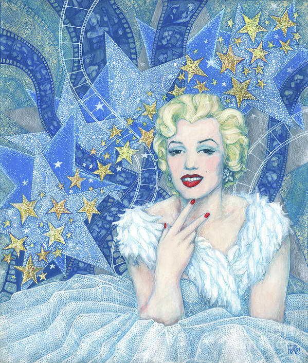 Marilyn Poster featuring the painting Marilyn Monroe, Old Hollywood Series by Julia Khoroshikh