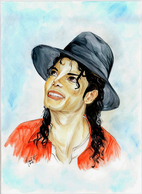 Michael Jackson Poster featuring the painting Michael Jackson - Keep The Faith by Nicole Wang