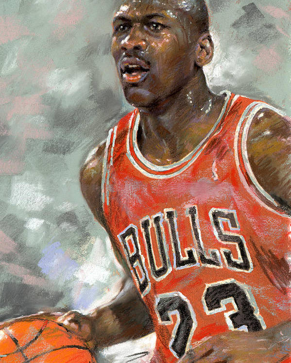 d664bc45f864a4 Michel Jordan Poster featuring the pastel Michael Jordan by Ylli Haruni