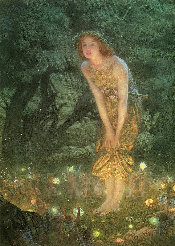 Edward Robert Hughes Poster featuring the painting Midsummer Eve by Edward Robert Hughes