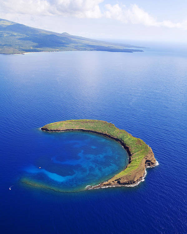 Above Poster featuring the photograph Molokini Aerial by Ron Dahlquist - Printscapes