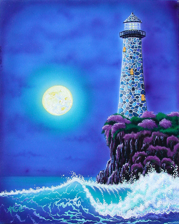Lighthouse Poster featuring the painting Moonlight Vigil by Angie Hamlin