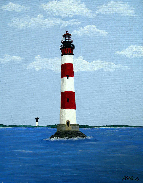 Lighthouse Paintings Poster featuring the painting Morris Island Light by Frederic Kohli