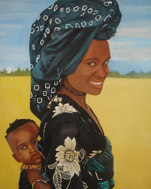 African Mother And Child Poster featuring the painting Mother And Child by Patrick Hunt