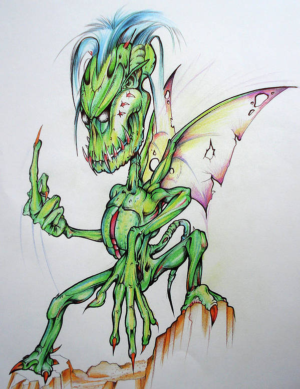 Fairy Poster featuring the drawing Naughty Fairy by Brian Gibbs