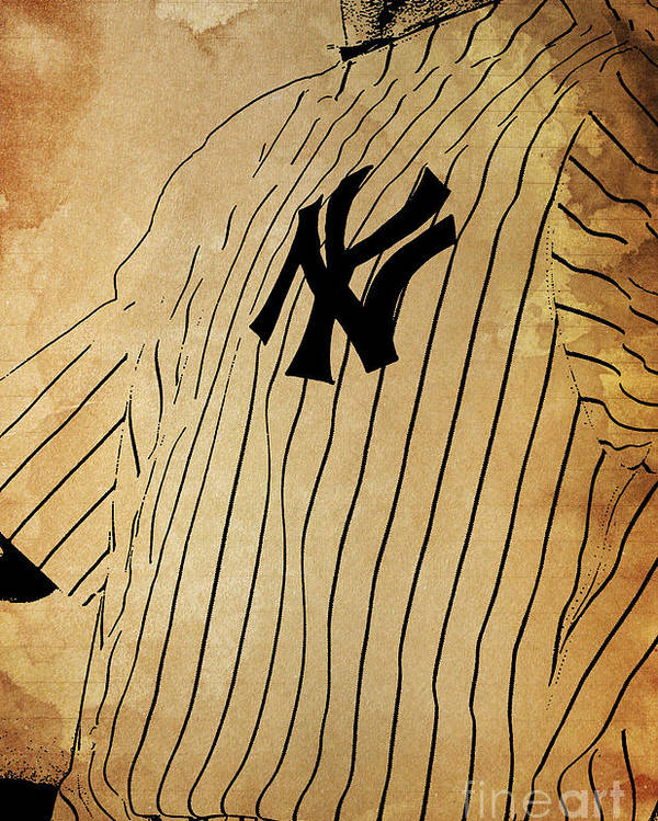 Yankees Poster featuring the painting New York Yankees Baseball Team Vintage Card by Drawspots Illustrations