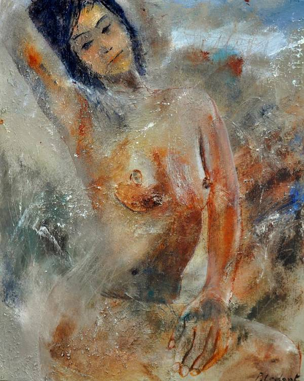 Nude Poster featuring the painting Nude 450101 by Pol Ledent