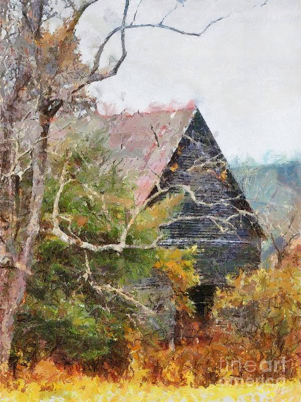 Landscape Poster featuring the digital art Old Barn At Cades Cove by Todd Blanchard