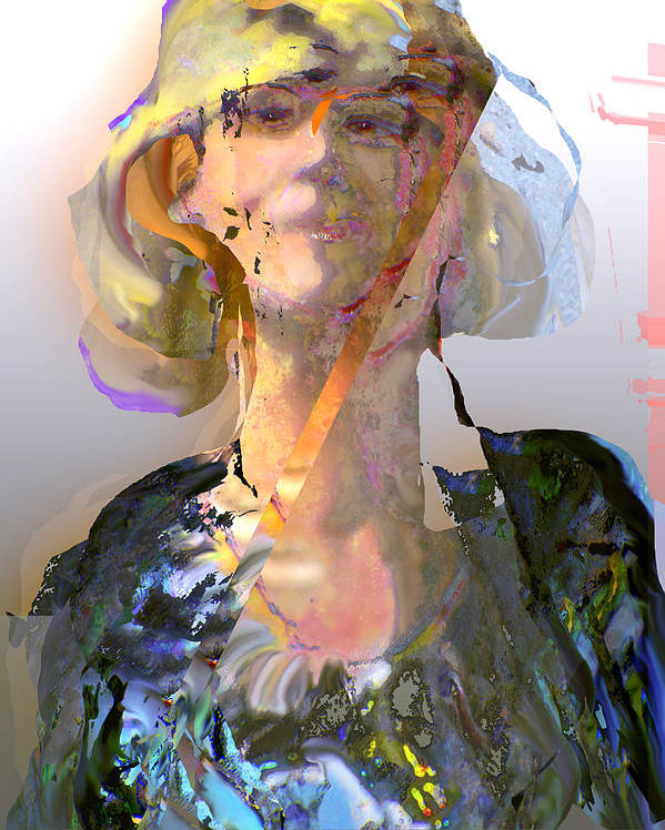 Portrait Poster featuring the mixed media Olga by Noredin Morgan