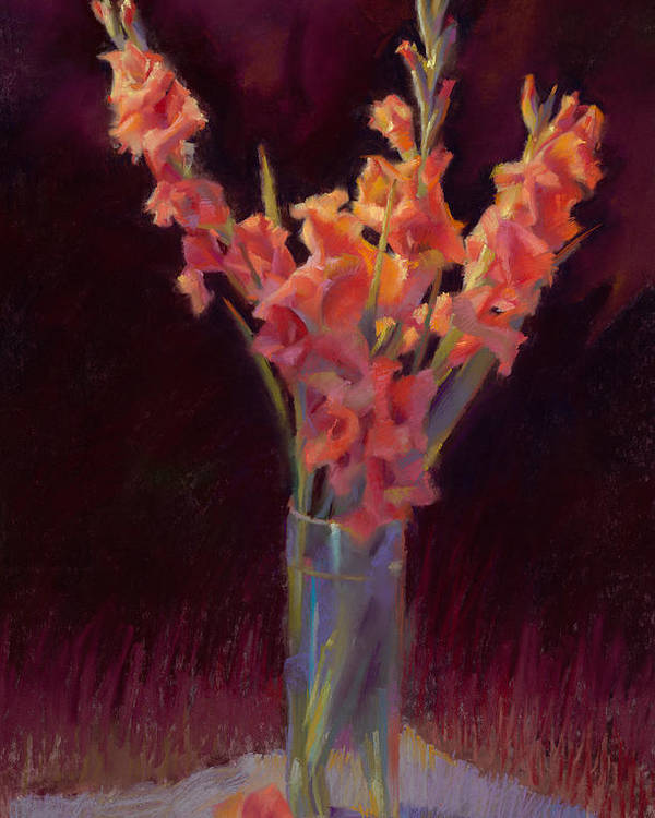 Floral Poster featuring the painting Orange Gladiolus by Cathy Locke