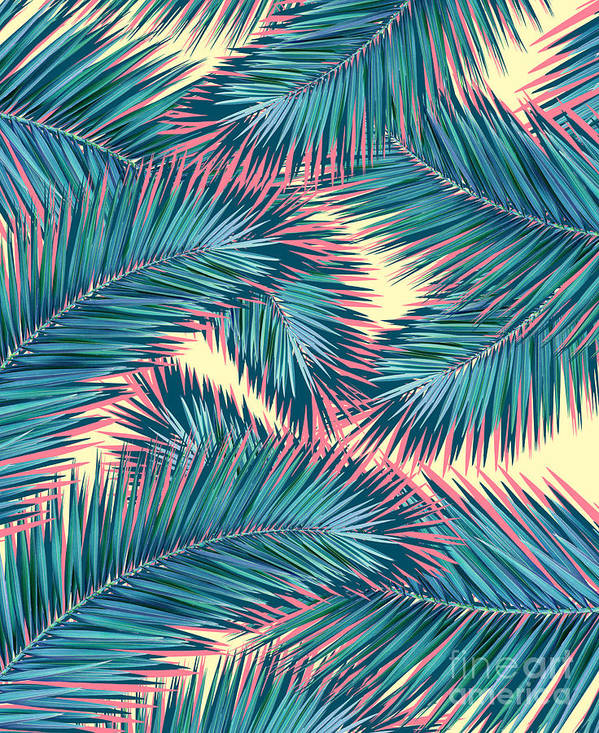 Summer Poster featuring the digital art Palm Trees by Mark Ashkenazi