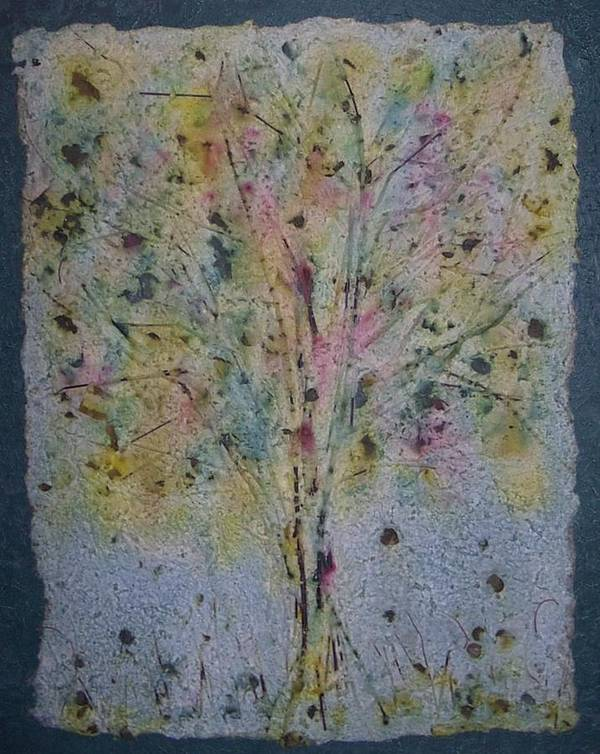 Poster featuring the mixed media Paper Tree by Sally Van Driest