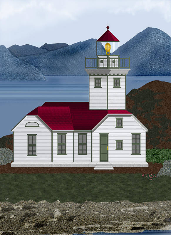 Patos Island Lighthouse Poster featuring the painting Patos Island Lighthouse by Anne Norskog