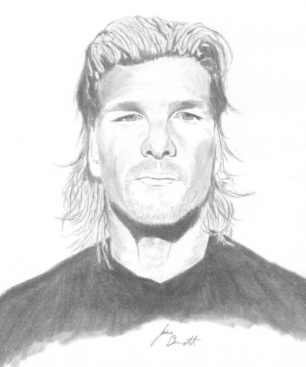 Patrick Swayze Poster featuring the drawing Patrick Swayze by Josh Bennett