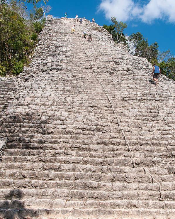 Mexico Quintana Roo Poster featuring the digital art People Climbing Nohoch Mul At The Coba Ruins by Carol Ailles
