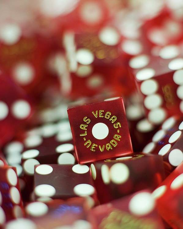 Vertical Poster featuring the photograph Pile Of Dice At A Casino, Las Vegas, Nevada by Christian Thomas