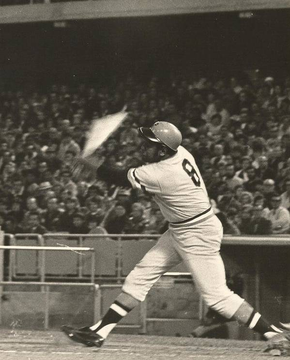 Pittsburgh Pirates Poster featuring the photograph Pittsburgh Pirate Willie Stargell Batting At Dodger Stadium by Jamie Baldwin