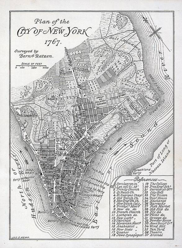 Mapping; Cartography; Territory; Manhattan; Map; Nyc; Usa; United States ; America; American; Metropolis Poster featuring the painting Plan Of The City Of New York by American School