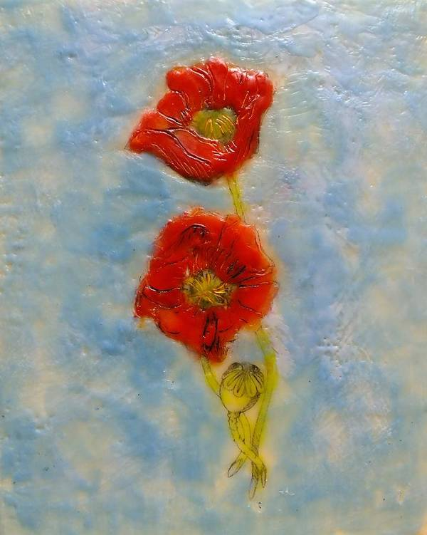 Encaustic Poster featuring the painting Poppies by Peggy King