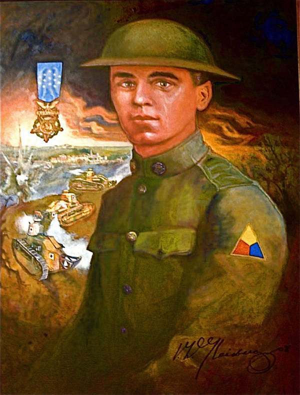 Portrait Of Corporal Harold W. Roberts Poster featuring the painting Portrait Of Corporal Roberts by Dean Gleisberg