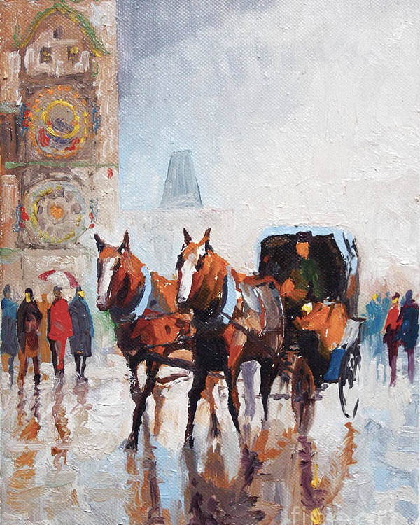 Prague Poster featuring the painting Prague Old Town Square by Yuriy Shevchuk