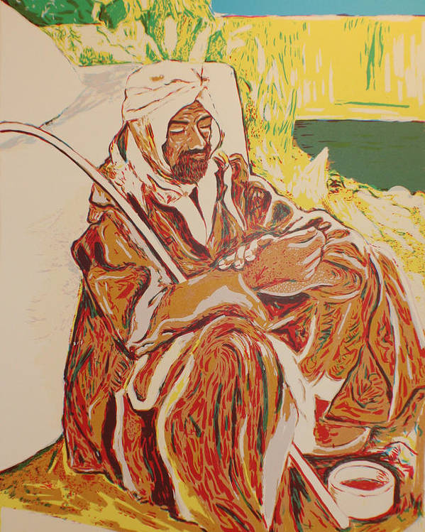 Poster featuring the painting Prayer at Benghazi by Biagio Civale