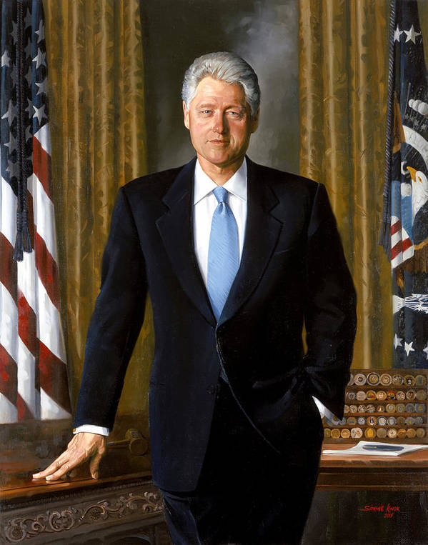 Bill Clinton Poster featuring the painting President Bill Clinton by War Is Hell Store