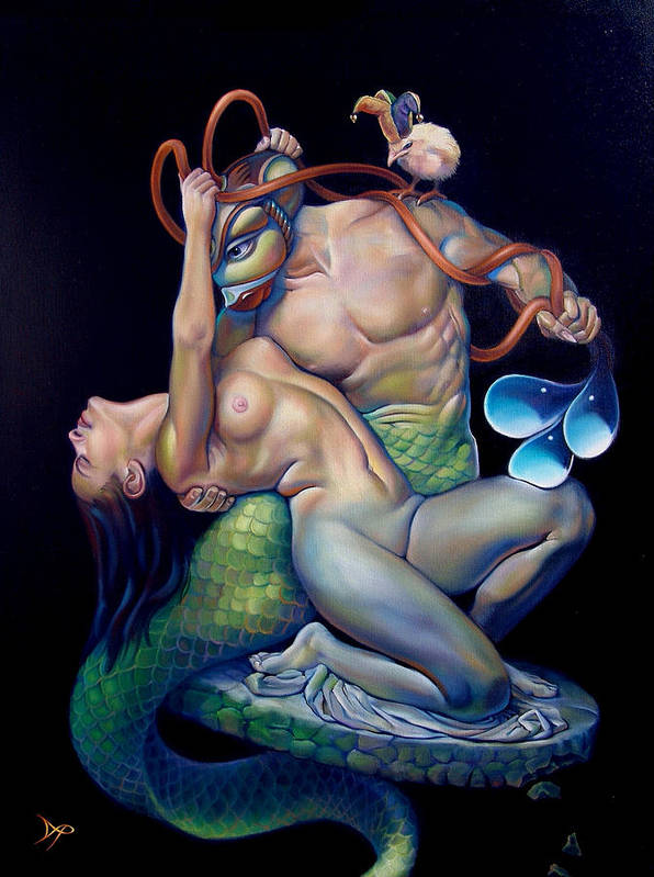 Mermaid Poster featuring the painting Pygmalion And Galatea by Patrick Anthony Pierson