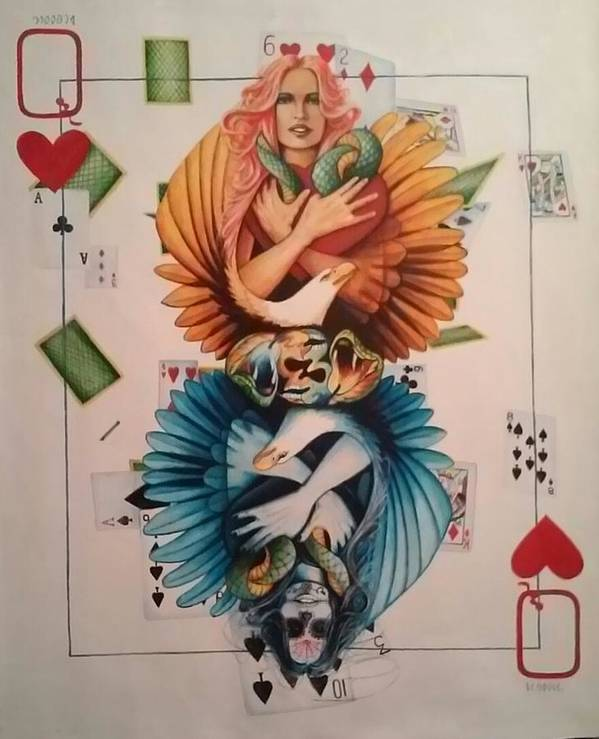 Native American Indian Art Poster featuring the painting Queen Of Hearts by DC Houle