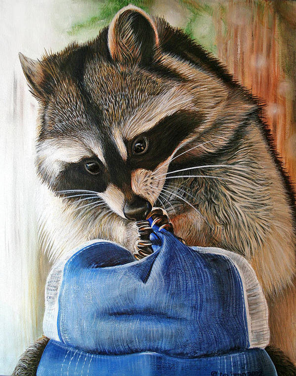 Raccoon Poster featuring the painting Raccoon Cap by Cara Bevan