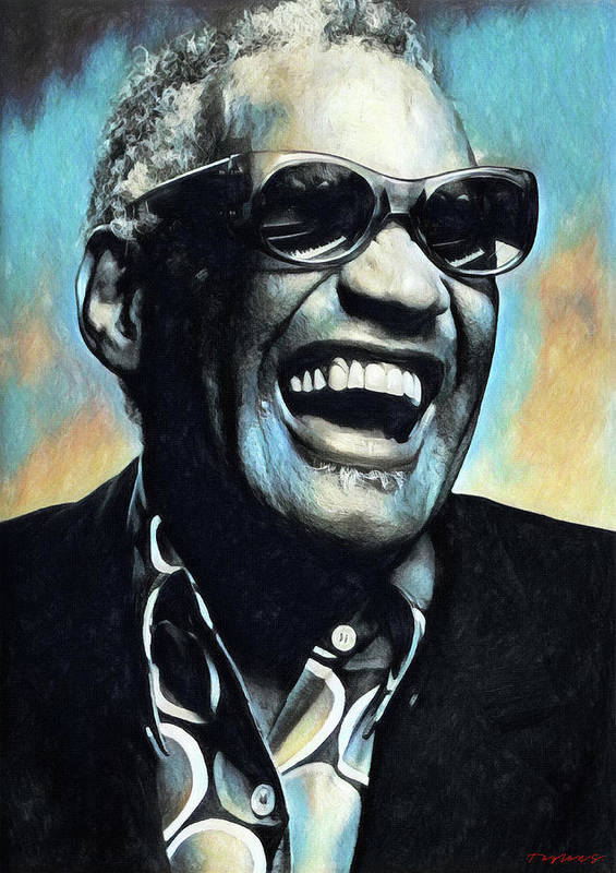 Ray Charles Poster featuring the painting Ray Charles by Zapista OU