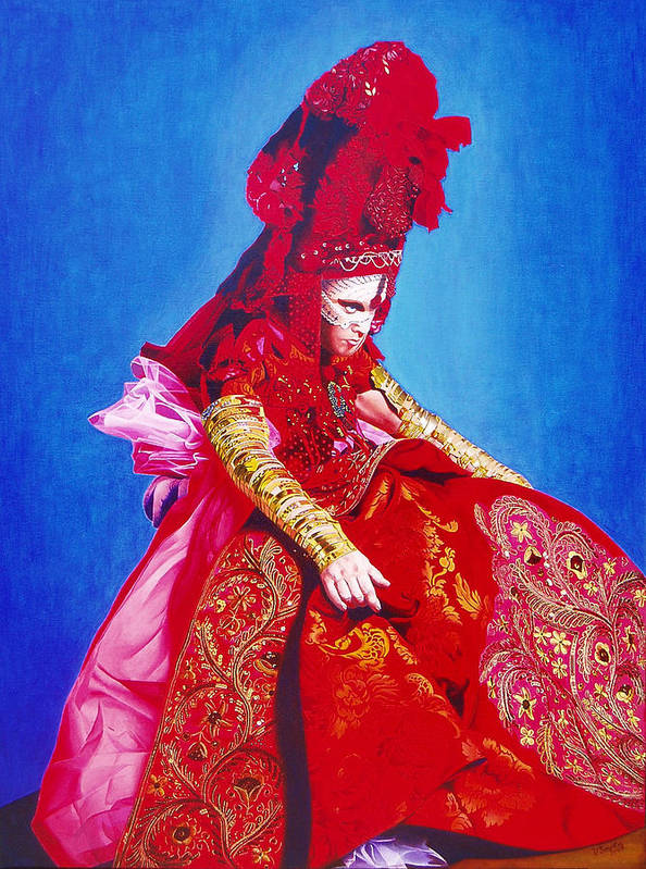 Renaissance Dress Poster featuring the painting Red Dress Too by Vlasta Smola