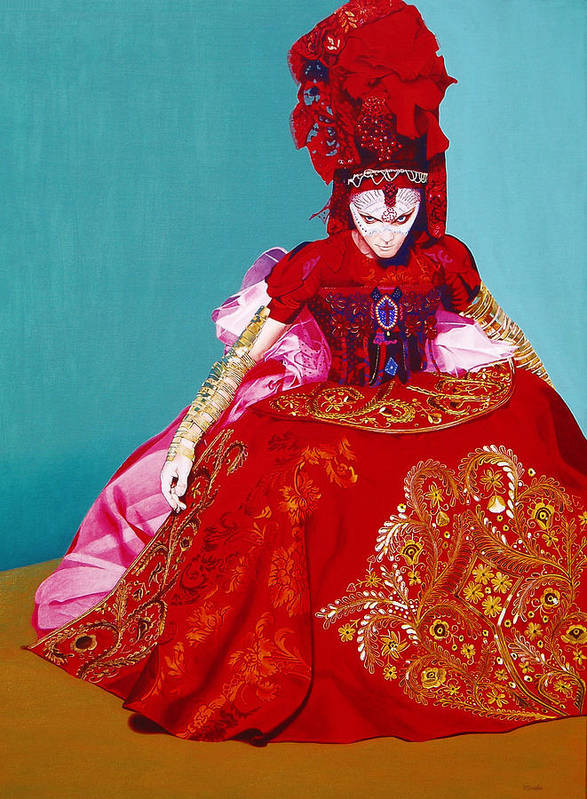 Renaissance Dress Poster featuring the painting Red Dress by Vlasta Smola
