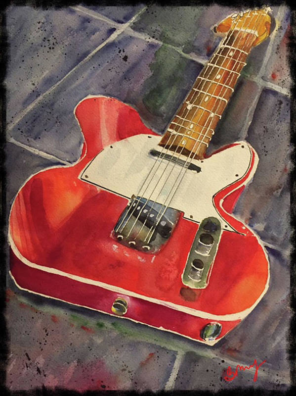 Red Telecaster Poster featuring the painting Red Telecaster by Bonny Butler
